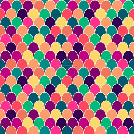 Seamless pattern with colorful scales