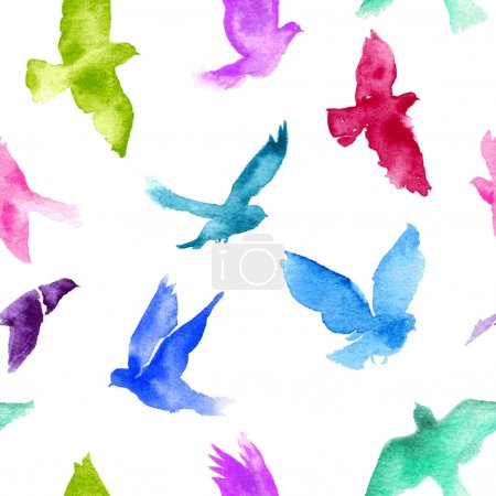Illustration for Watercolor birds seamless pattern. - Royalty Free Image