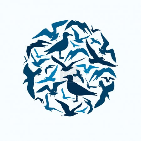 Illustration for Seagull silhouettes round composition on light blue background - Royalty Free Image