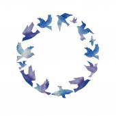 Circle of colorful birds