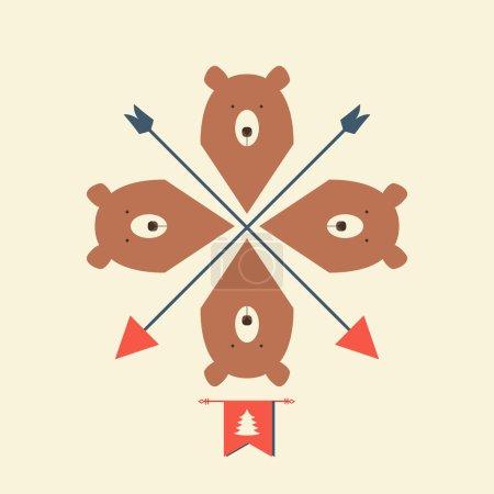 Muster von Bären mit Pfeilen