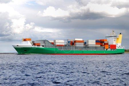 cargo ship leaving port