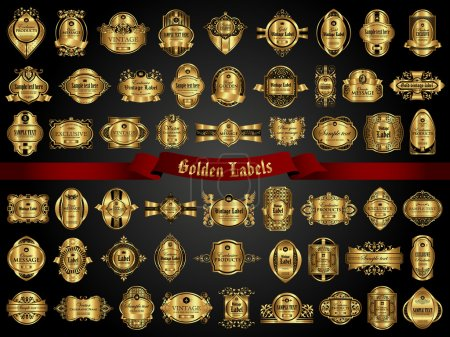 Illustration for Vector set of labels with gold elements - Royalty Free Image
