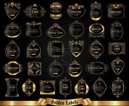 Vintage gold framed labels - vector set