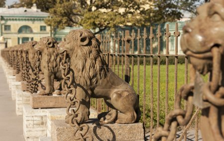 29 cast iron lions near the manor Kushelev-Bezborodko at Sverdlovsk Neva River, St. Petersburg