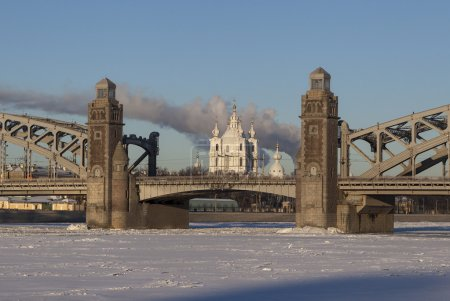 Smolny Cathedral in alignment Bolsheokhtinsky bridge. St. Petersburg. Russia