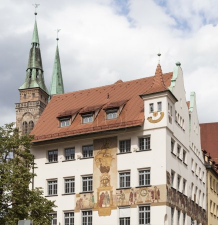 House with frescoed Waaggasse. Germany.