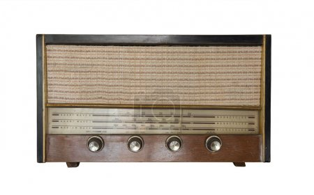 Vintage fashioned radio isolated on white backgrou...