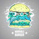 Burger - a monster Illustration for printing on a T-shirt
