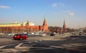 8 dubna 2016, Moskva, Rusko, na zdi Kremlu a zobrazit Borovickaja věž
