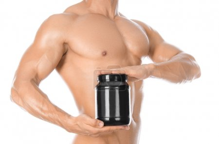 Bodybuilding and Sports theme: handsome strong bod...