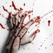 Bloody halloween theme: bloody hand print on a whi...