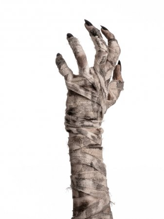 Halloween theme: terrible old mummy hands on a whi...