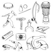Set of hand drawing Capoeira elements