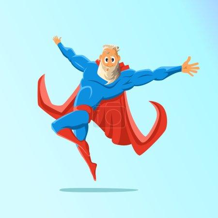 Illustration for Old charismatic hipster Superhero. Superhero in action. Vector illustration - Royalty Free Image