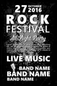 Black and white Vintage Rock festival design template with crowd on back and place for text Rock poster background