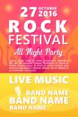 Cartoon Rock festival design template with crowd on back and place for text