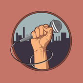 hand holding a microphone in a fist background silhouette of the city retro poster vector illustration vintage design
