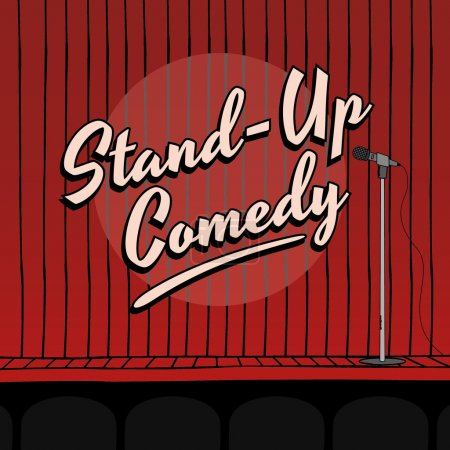 Illustration for Stand up comedy live stage red curtain - Royalty Free Image