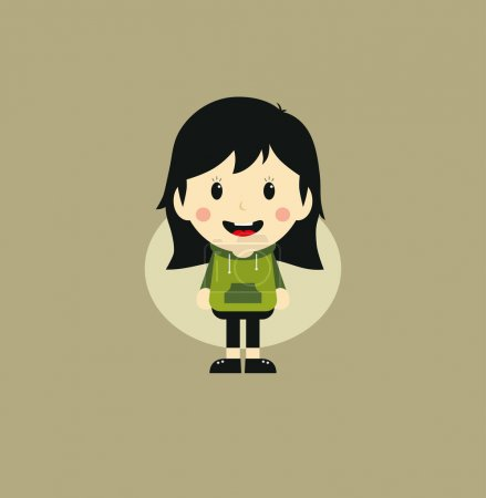Illustration for Cute girl cartoon character theme graphic art vector illustration - Royalty Free Image