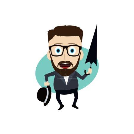 Illustration pour Homme avec parapluie, illustrations vectorielles - image libre de droit