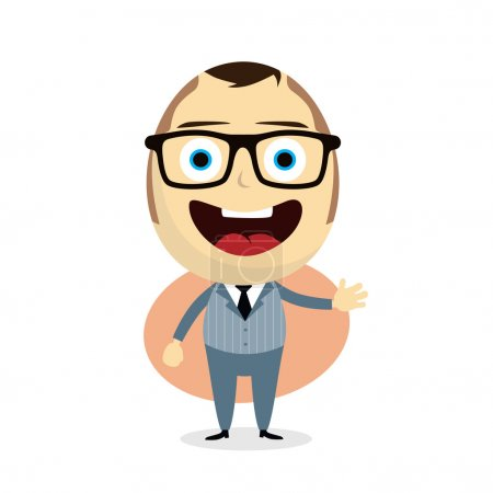 Illustration for Happy businessman cartoon vector illustration - Royalty Free Image