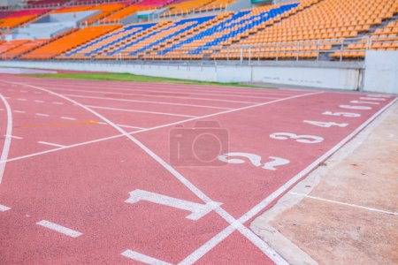 Numbers on running track  in stadium