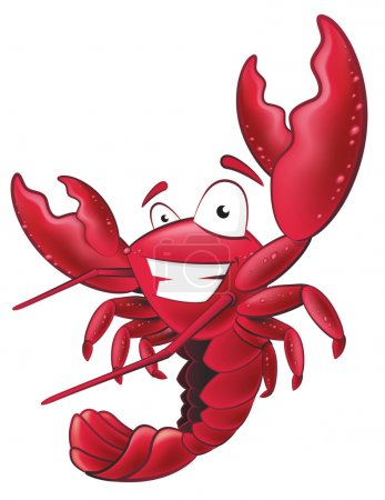 Great illustration of a happy lobster waving his p...