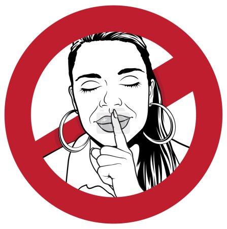 Photo pour Grande Illustration d'un signe d'avertissement avec Fille mettre son index sur ses lèvres pour indiquer le silence est nécessaire . - image libre de droit
