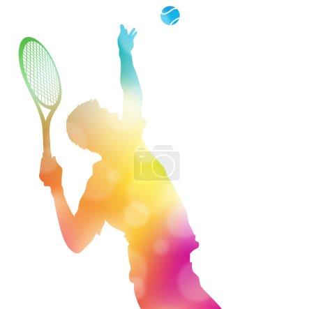 Photo pour Applique un flou colorée illustration abstraite d'un joueur de Tennis qui dessert haut de frapper un As dans ce match de championnat à travers une brume d'été. - image libre de droit