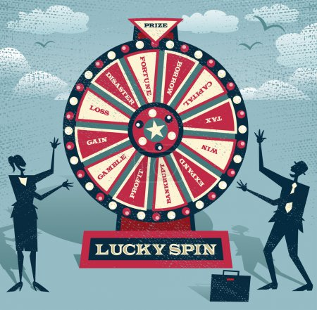 Illustration for Abstract Business people with Financial Wheel of Fortune. Abstract Business take the ultimate gamble on the business futures by playing on the Financial Wheel of Fortune. - Royalty Free Image