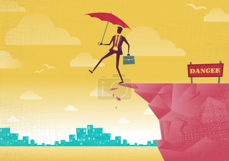 Illustration for Businessman walks off a cliff. Great illustration of Retro styled Businessman walking off the cliffs or maybe its a leap of faith. - Royalty Free Image