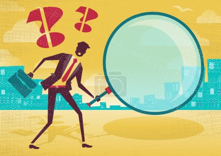 Illustration for Businessman uses magnifying glass to find clues. Great illustration of Retro styled Abstract Businessman searching for clues with his gigantic magnifying glass. - Royalty Free Image