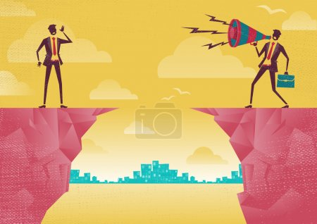 Illustration for Businessmen communicating from distance. Great illustration of Retro styled Businessman standing on the cliffs shouting at the top of his voice through a loudspeaker megaphone to his colleague who is trying to hear him. - Royalty Free Image