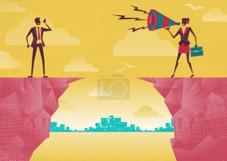 Illustration for Businesswoman communicating from distance. Great illustration of Retro styled Businesswoman standing on the cliffs shouting at the top of her voice through a loudspeaker megaphone to her colleague who is trying to hear her. - Royalty Free Image