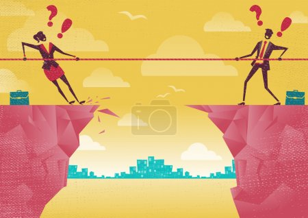 Illustration for Businessman and Businesswoman in a competition.   Retro styled Businessman embroiled in a competition  on the top of the cliffs. - Royalty Free Image