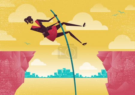 Illustration for Great illustration of Retro styled Businesswomen using her clever initiative to leap from one clifftop to safety. - Royalty Free Image