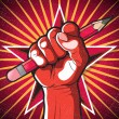 Постер, плакат: Revolutionary Punching Fist and Pencil Sign
