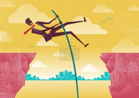 Illustration for Great illustration of Retro styled Businessmen using his clever initiative to leap from one clifftop to safety. - Royalty Free Image