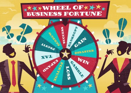 Illustration for Great illustration of Retro styled Business rivals gambling their financial futures on the big spinning Wheel of Business Fortune hoping to win first place in the business world. - Royalty Free Image