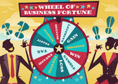 Business People play the Business Wheel of Fortune