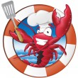 Great illustration of a happy lobster Chef holding...