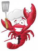 Great illustration of a happy lobster Chef holding a Spatula ready to cook some delicious seafood