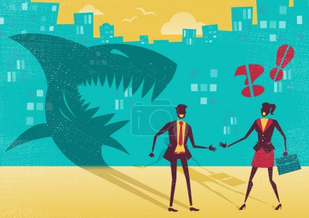 Great illustration of a businessman who is exposed as a shark in real life by a clever businesswoman who sees right through his clever disguise. He is not what he seems to be.