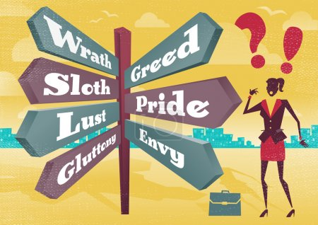 Businesswoman Contemplates 7 Deadly Sins Sign Post Dilemma.