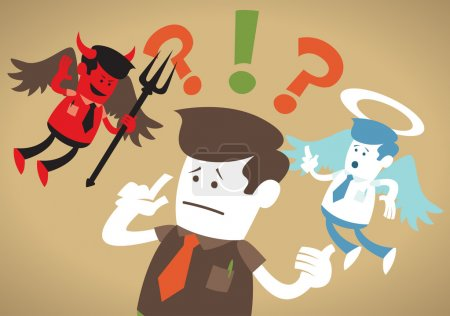 Illustration for Great illustration of Retro styled Corporate Guy caught up in a Catch-22 battle of wills with both a devil and an angel helping him to decide. - Royalty Free Image