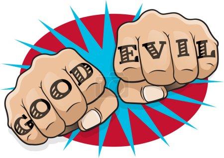 Pop Art Good and Evil Tattoo Fists.