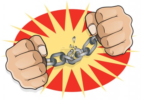 Chained Fists breaking Free