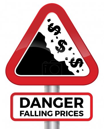 Danger. Falling Prices Road Sign.