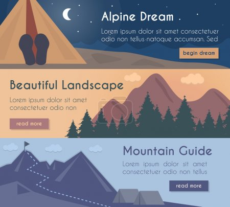 Vector banners set - mountain hiking in the beautiful Vector banners set - mountain hiking in the beautiful landscape with mount